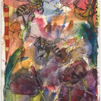 Busy and Bees  Watercolour and Ink-Pen 10.5 cm x 20 cm
